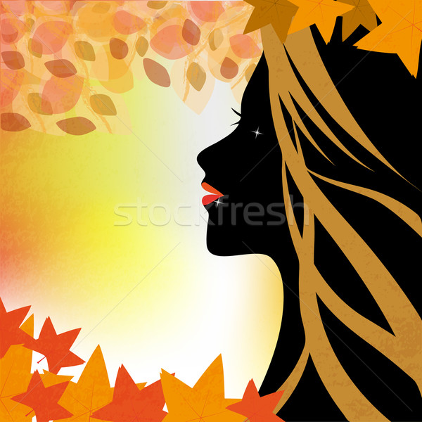 Kadın sonbahar örnek yüz profil arka plan Stok fotoğraf © Elsyann