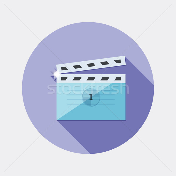 Flat design cinema clap icon with long shadow Stock photo © Elsyann
