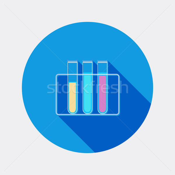 Flat design tubes chemistry icon with long shadow Stock photo © Elsyann