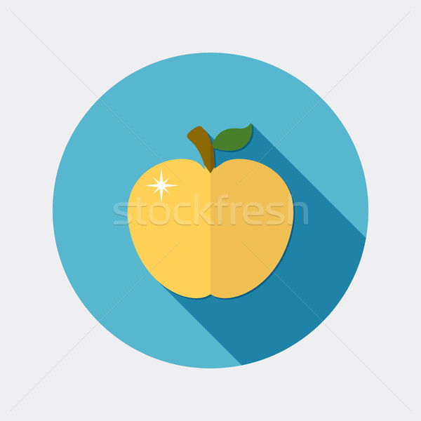 Flat design apple icon with long shadow Stock photo © Elsyann