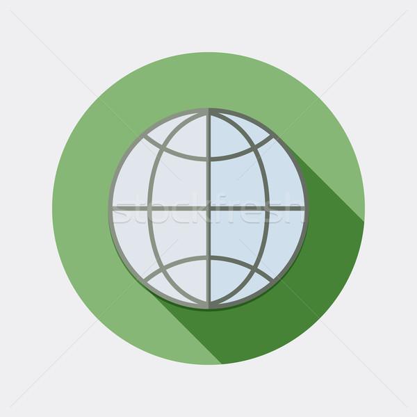 Ontwerp wereldbol web browser icon lang Stockfoto © Elsyann