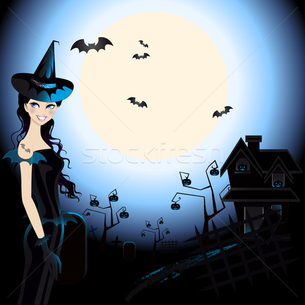 Halloween bruxa ilustração cemitério luar luz Foto stock © Elsyann