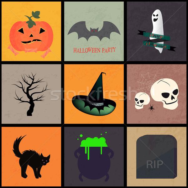 Halloween iconen illustratie verschillend banners boom Stockfoto © Elsyann
