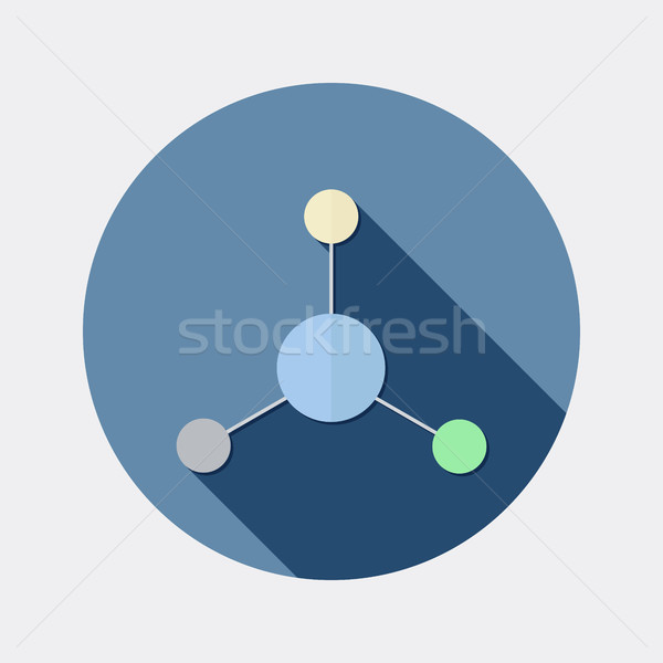 Flat design science and chemistry molecule icon with long shadow Stock photo © Elsyann