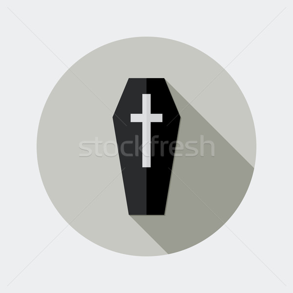 Flat design black coffin and cross icon with long shadow Stock photo © Elsyann