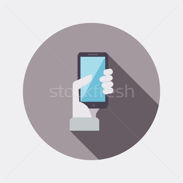 Dizayn el cep telefonu ikon uzun Stok fotoğraf © Elsyann