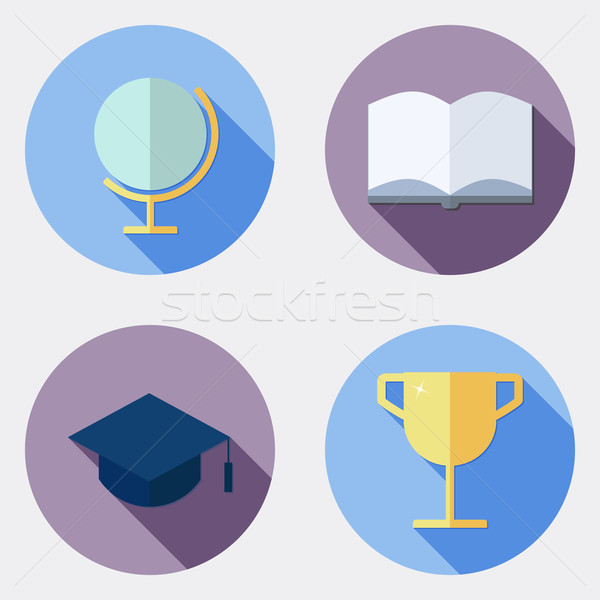 Flat design education icons with long shadow 1 Stock photo © Elsyann