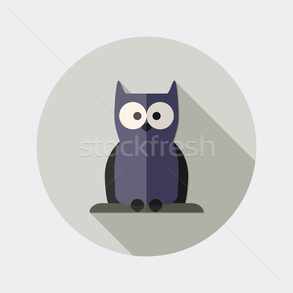 Flat design owl icon with long shadow Stock photo © Elsyann