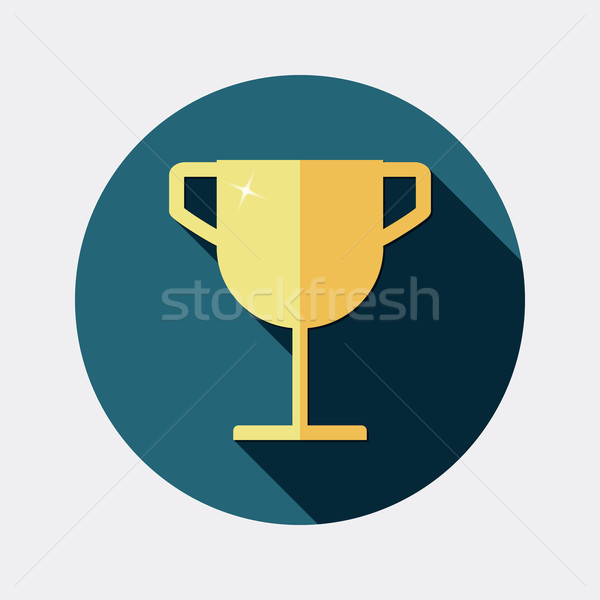 Flat design award gold trophy cup icon with long shadow Stock photo © Elsyann