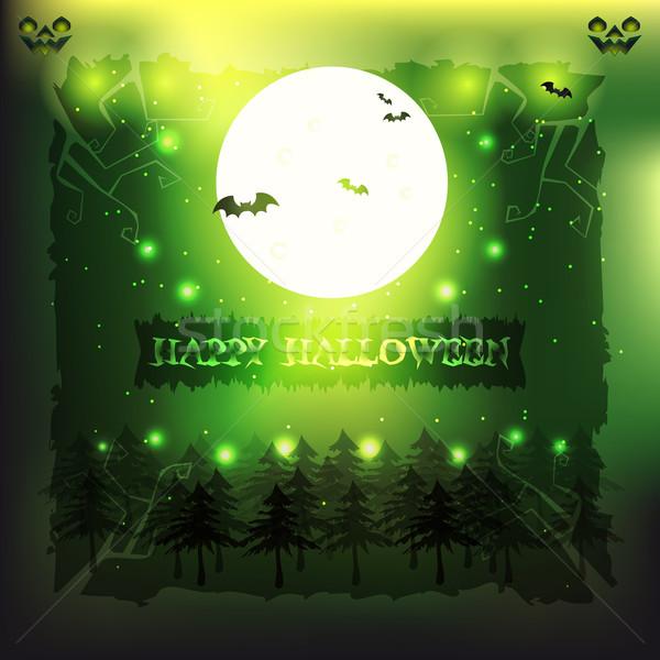 зеленый фары иллюстрация Flying полнолуние сверхъестественный Сток-фото © Elsyann