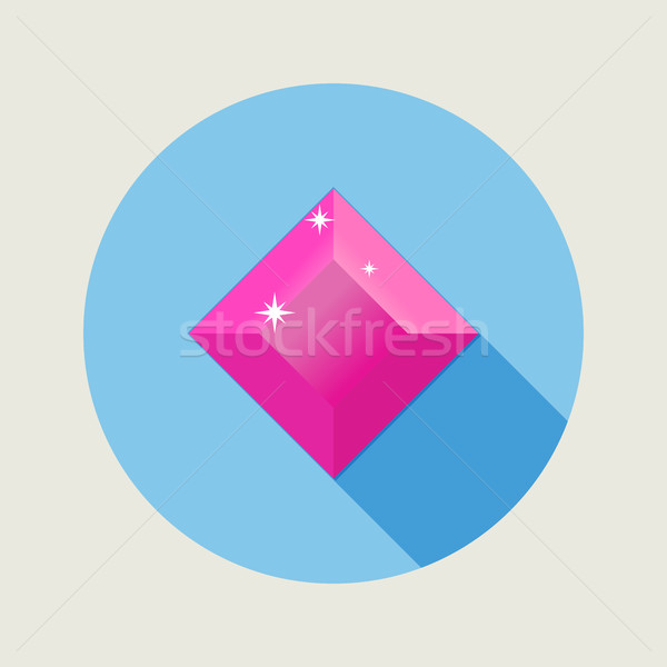 Flat design ruby icon with long shadow Stock photo © Elsyann