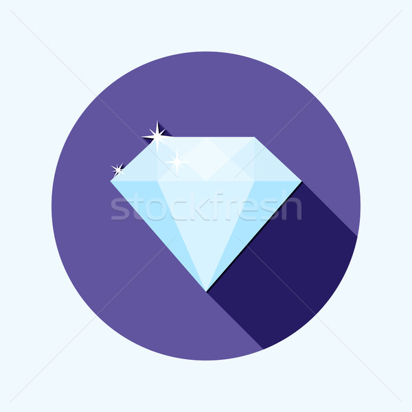 Flat design shiny diamond icon with long shadow Stock photo © Elsyann