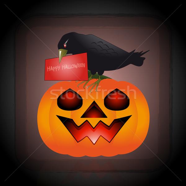 Mensaje halloween ilustración cuervo calabaza pico Foto stock © Elsyann