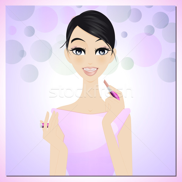 Beauty applying lipstick Stock photo © Elsyann