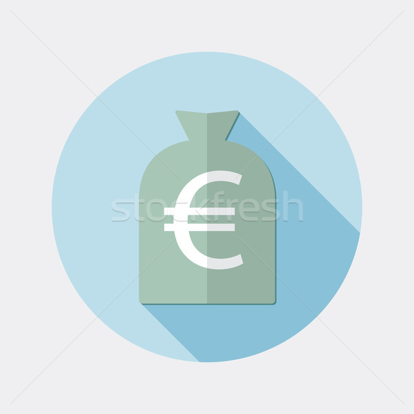 Flat design euro money bag icon with long shadow Stock photo © Elsyann