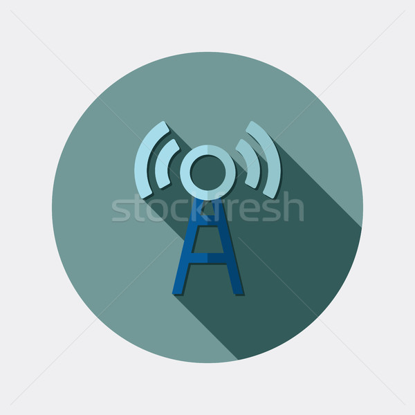 Flat design wireless LAN icon with long shadow Stock photo © Elsyann