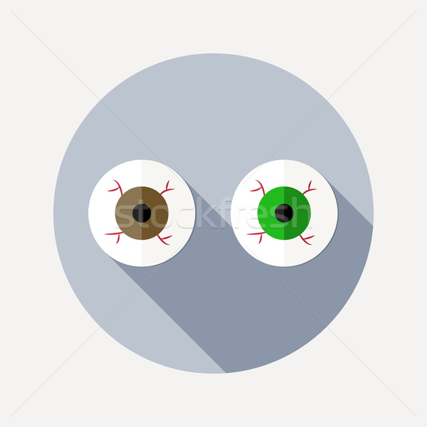 Flat design two eyeballs icon with long shadow Stock photo © Elsyann
