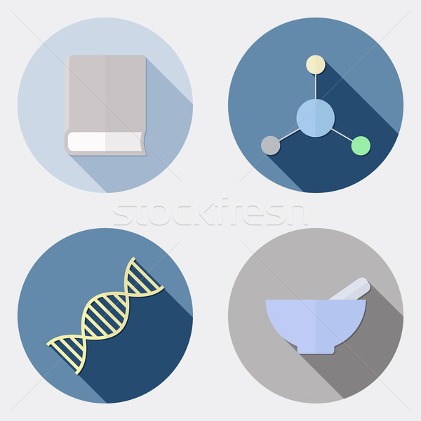 Flat design scientific research icons with long shadow 2 Stock photo © Elsyann