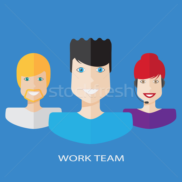 Flat workteam illustration Stock photo © Elsyann