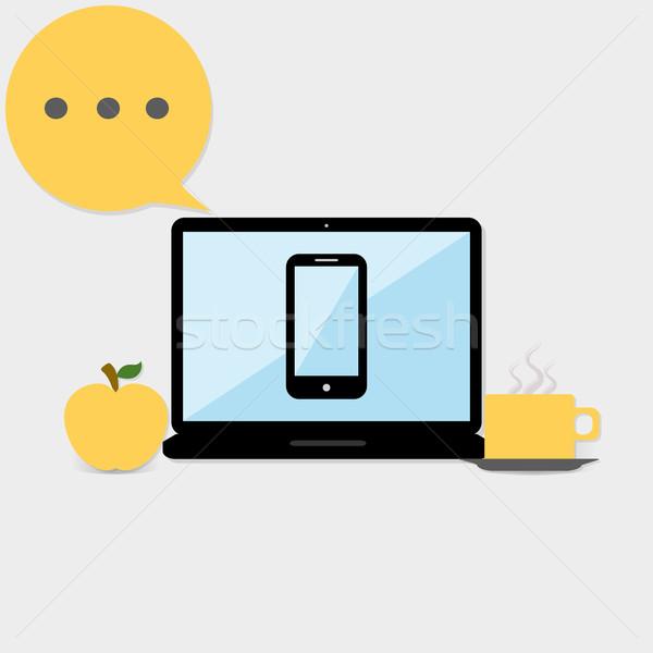 Dizüstü bilgisayar tablet cep telefonu elma kahve çalışmak Stok fotoğraf © Elsyann