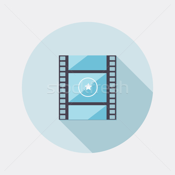Flat design film spool icon with long shadow Stock photo © Elsyann