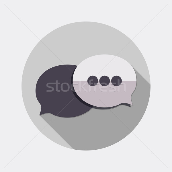 Flat design bubble dialogue icon with long shadow Stock photo © Elsyann