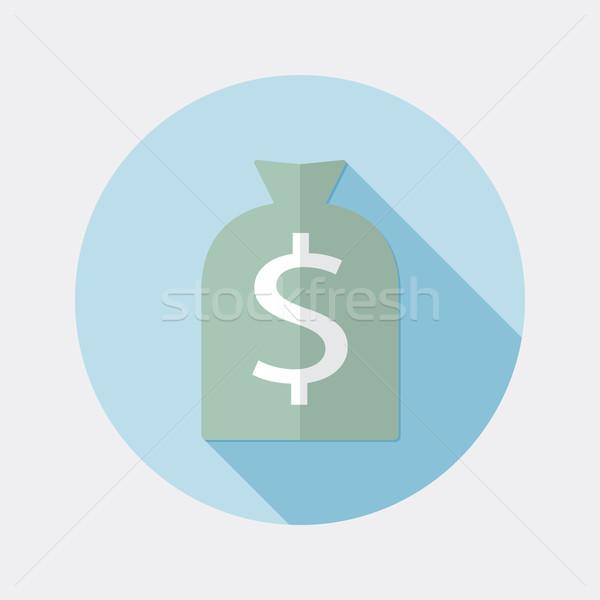 Terv dollár pénz táska ikon hosszú Stock fotó © Elsyann