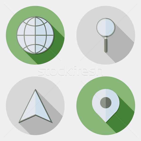 Flat design location traveling icons with long shadow Stock photo © Elsyann