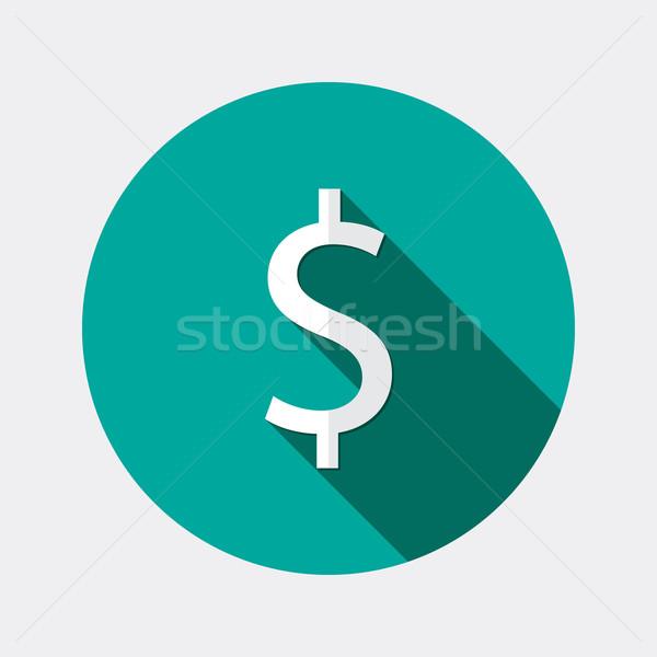 Flat design dollar money icon with long shadow Stock photo © Elsyann