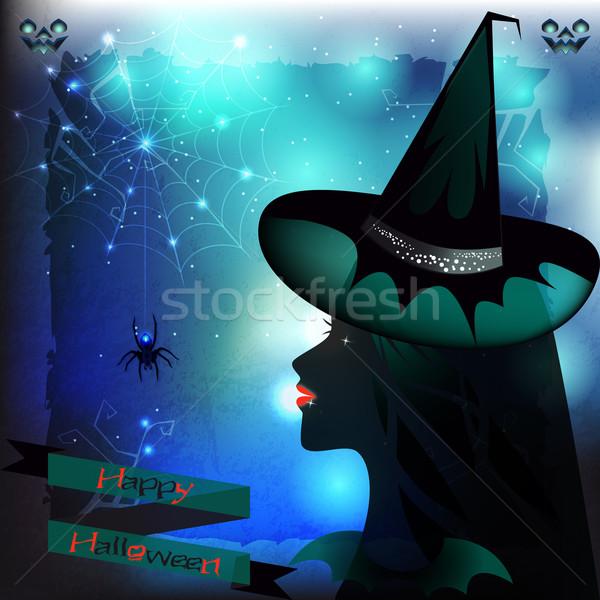 Halloween boszorkány pók illusztráció profil buli Stock fotó © Elsyann
