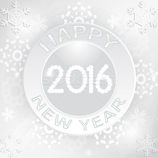 Dizayn happy new year 2016 tebrik kartı kar Stok fotoğraf © Elsyann