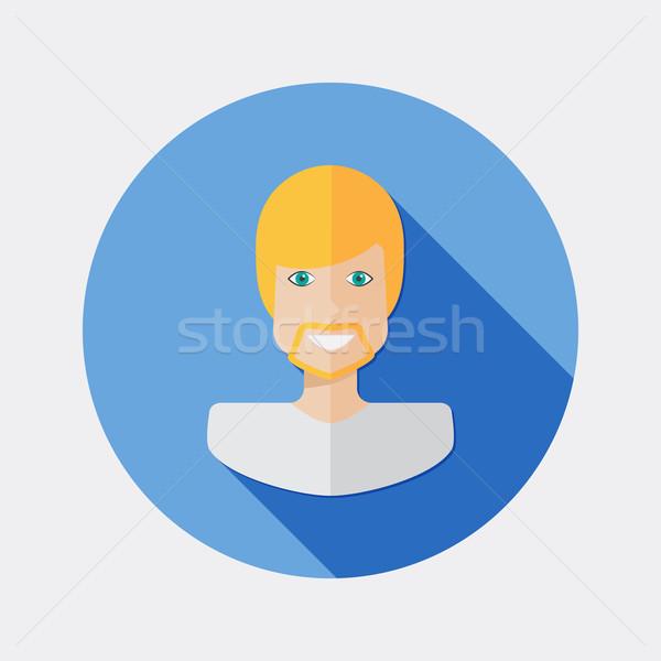 Dizayn adam karakter sarışın saç ikon Stok fotoğraf © Elsyann