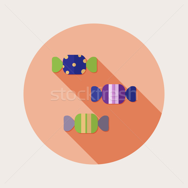 Flat design sweets icon with long shadow Stock photo © Elsyann