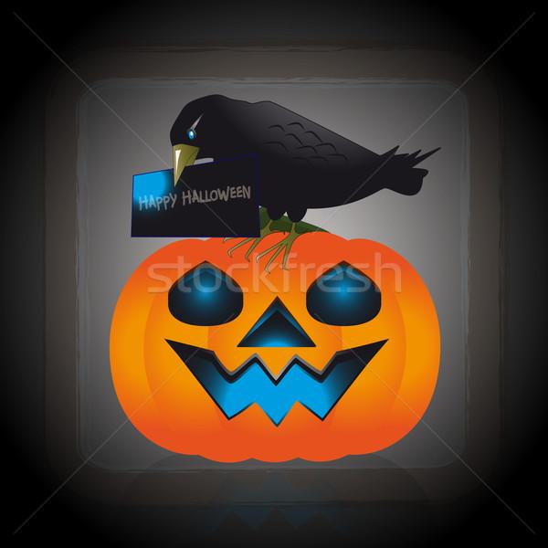 Uitnodiging halloween illustratie raaf pompoen snavel Stockfoto © Elsyann