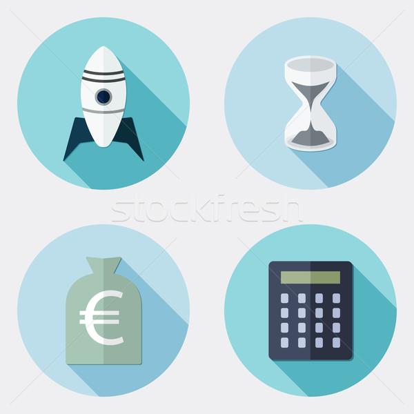 Ontwerp business iconen lang schaduw illustratie Stockfoto © Elsyann