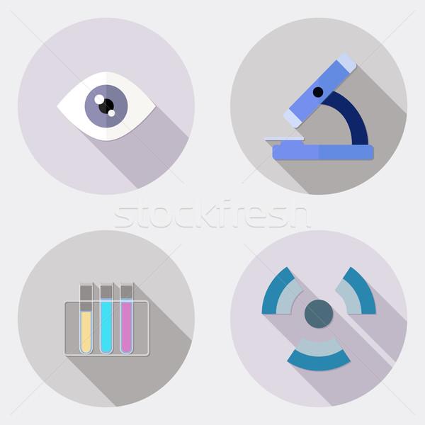 Design recherche scientifique icônes longtemps ombre illustration Photo stock © Elsyann