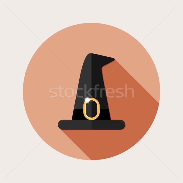 Projektu kapelusz czarownicy ikona długo cień ilustracja Zdjęcia stock © Elsyann