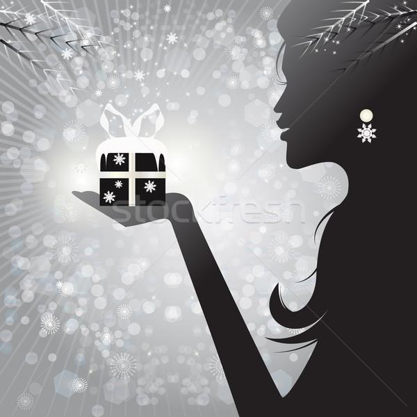 Profil siluet kadın hediye örnek Stok fotoğraf © Elsyann