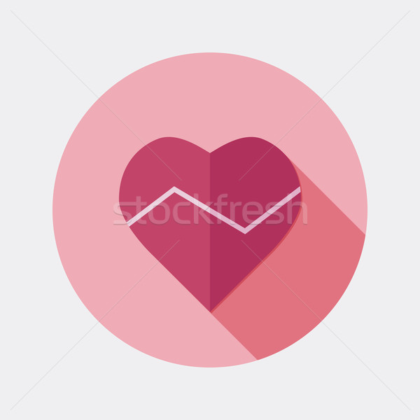 Flat design heart beat icon with long shadow Stock photo © Elsyann