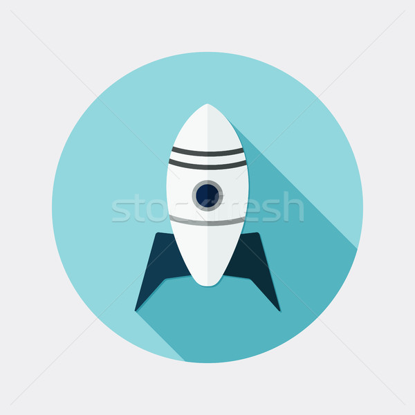Flat design rocket icon with long shadow Stock photo © Elsyann