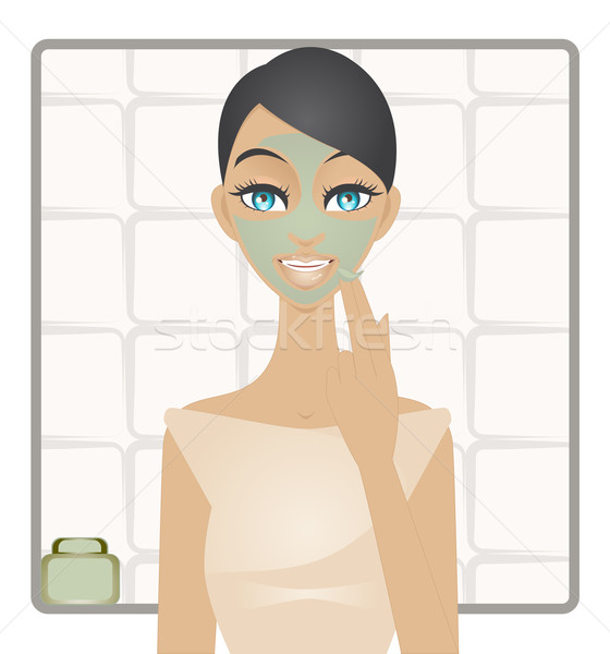 Beauty with green clay mask Stock photo © Elsyann