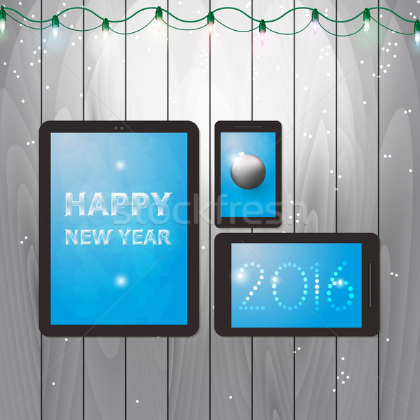 Tablets illustration for happy new year 2016 Stock photo © Elsyann