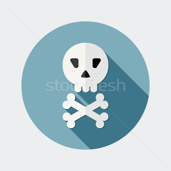 Flat design skull icon with long shadow Stock photo © Elsyann
