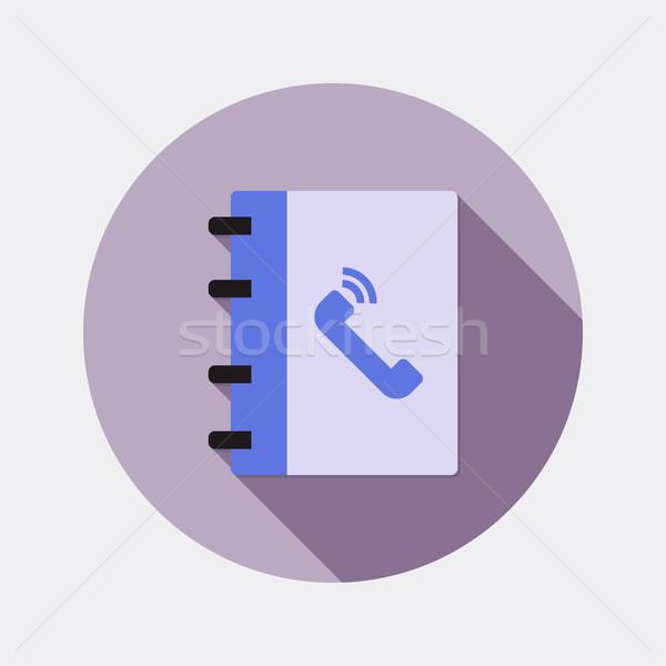 Dizayn ofis notepad ikon uzun gölge Stok fotoğraf © Elsyann