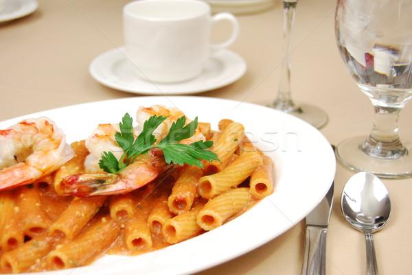 Rigatoni with shrimp Stock photo © elvinstar