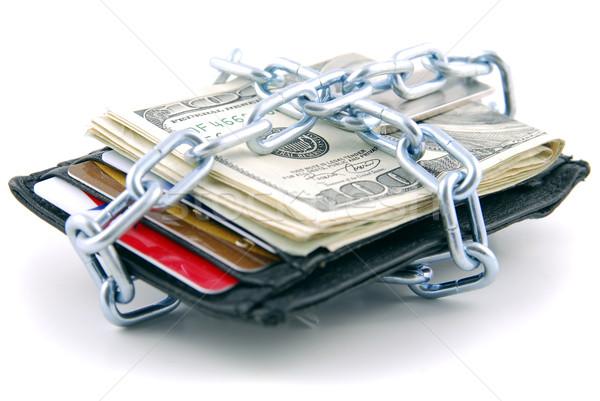 Zamknięty portfela amerykański waluta karty kredytowe bezpieczeństwa Zdjęcia stock © elvinstar