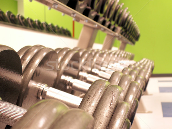 Ijzer pompen perspectief shot rack fitness Stockfoto © elvinstar