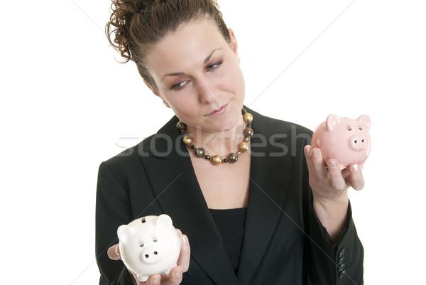 Oszczędności porównanie atrakcyjny kobiet Zdjęcia stock © elvinstar