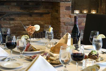 Elegante refeição casa foco pão meio Foto stock © elvinstar