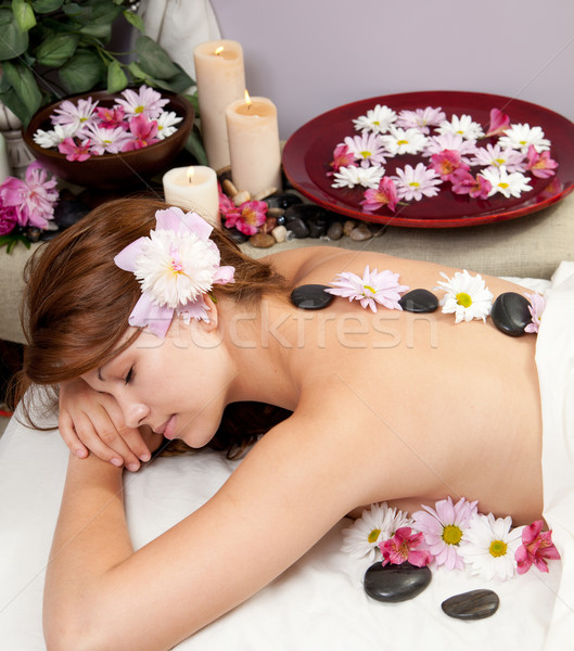 Hot stone massage Stock photo © elvinstar